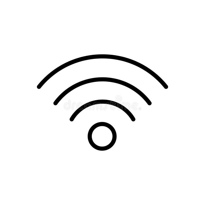 Zwart lijnpictogram voor Hotspot, de toegang en de mededeling van Wifi stock illustratie