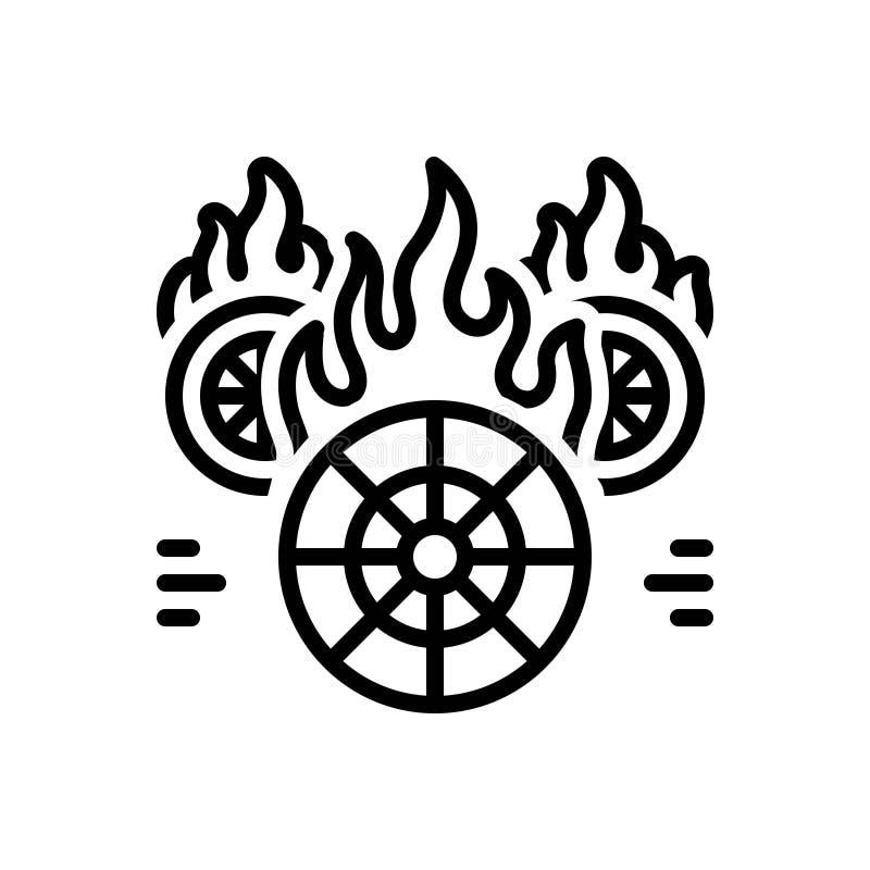 Zwart lijnpictogram voor Hotwheels, brand en het branden en wiel vector illustratie