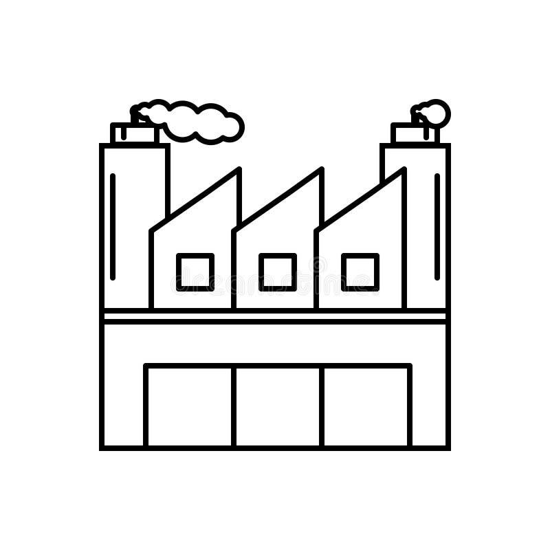Zwart lijnpictogram voor Industrieel, vervaardiging en diversen royalty-vrije illustratie