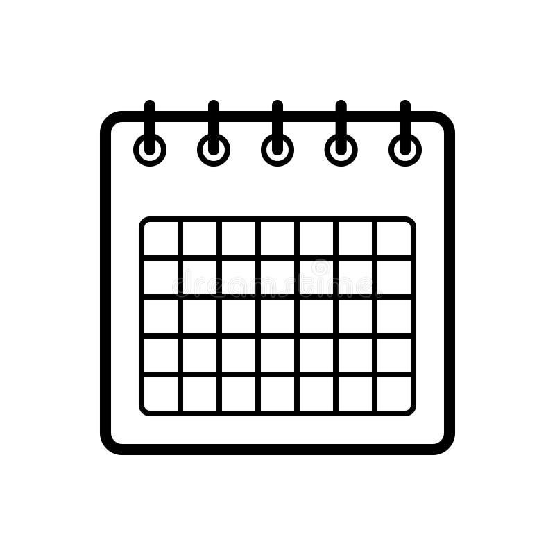 Zwart lijnpictogram voor Kalender, mobiel en maand stock illustratie