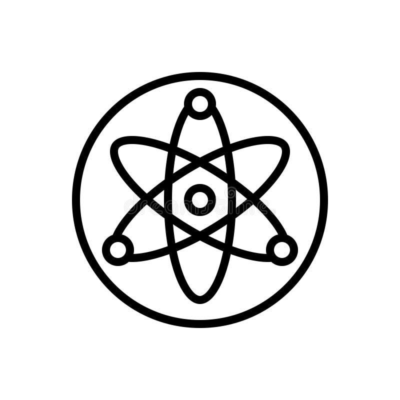 Zwart lijnpictogram voor Kern, energie en atoom stock illustratie