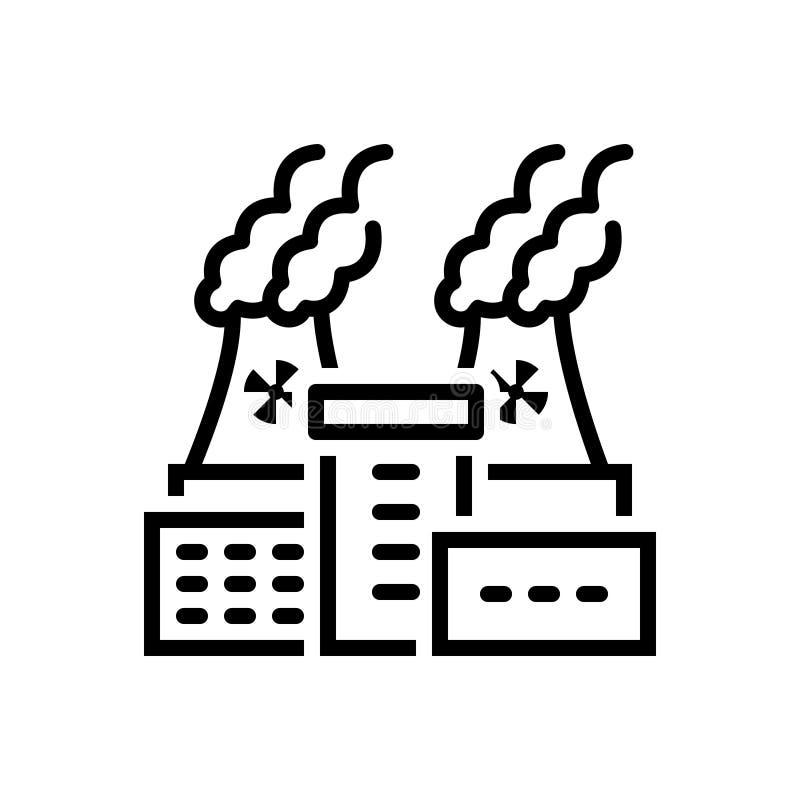 Zwart lijnpictogram voor Kerncentrale, macht en thermisch stock illustratie