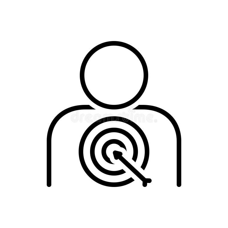 Zwart lijnpictogram voor Klantendoel, cliënt en consument stock illustratie