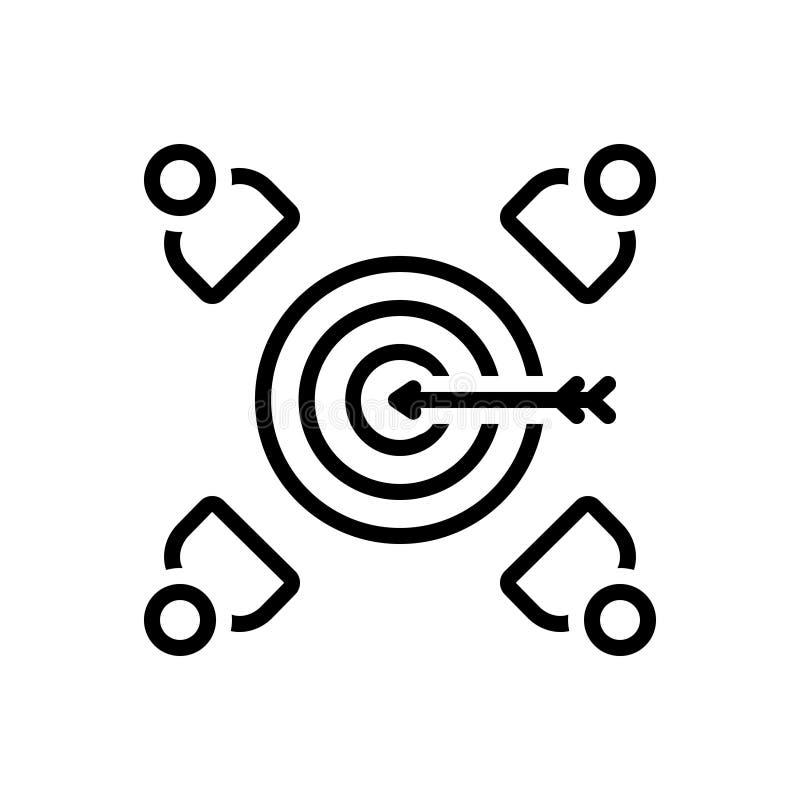 Zwart lijnpictogram voor Klantendoel, cliënt en patroon vector illustratie