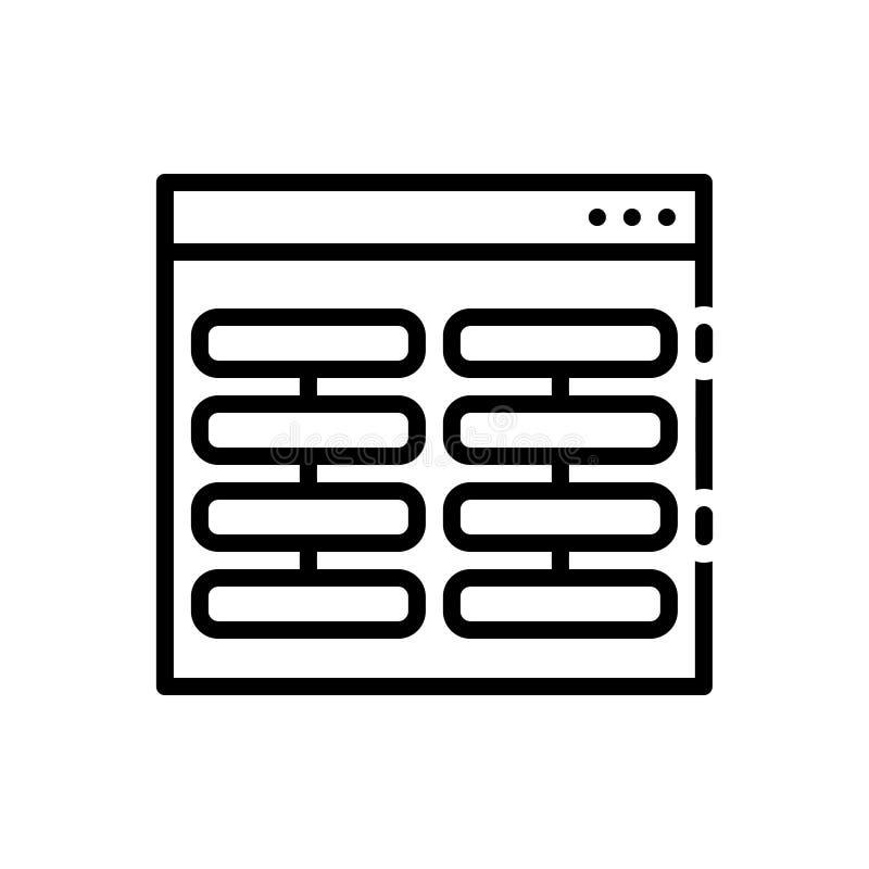 Zwart lijnpictogram voor Kolommen, pijlers en pool stock illustratie