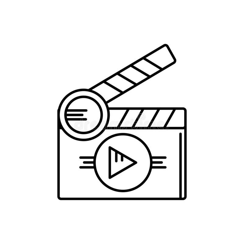 Zwart lijnpictogram voor Korte films, première en cinematografie stock illustratie