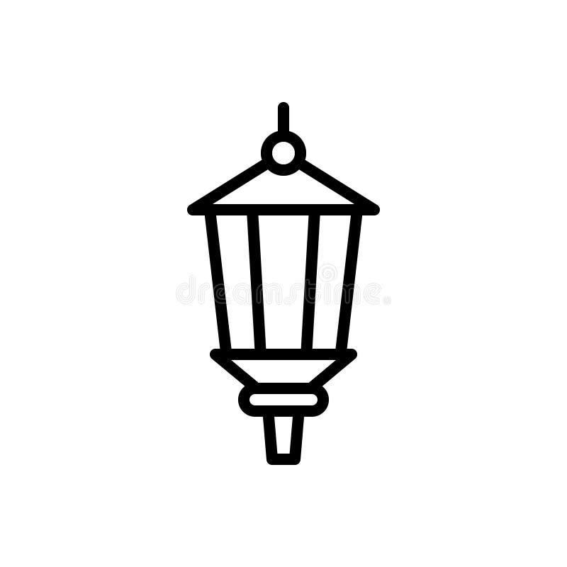 Zwart lijnpictogram voor Lamppost, oud en antiek stock illustratie