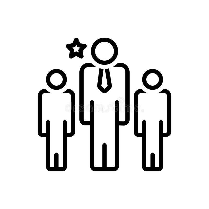 Zwart lijnpictogram voor Leider, leider en bevelhebber stock illustratie