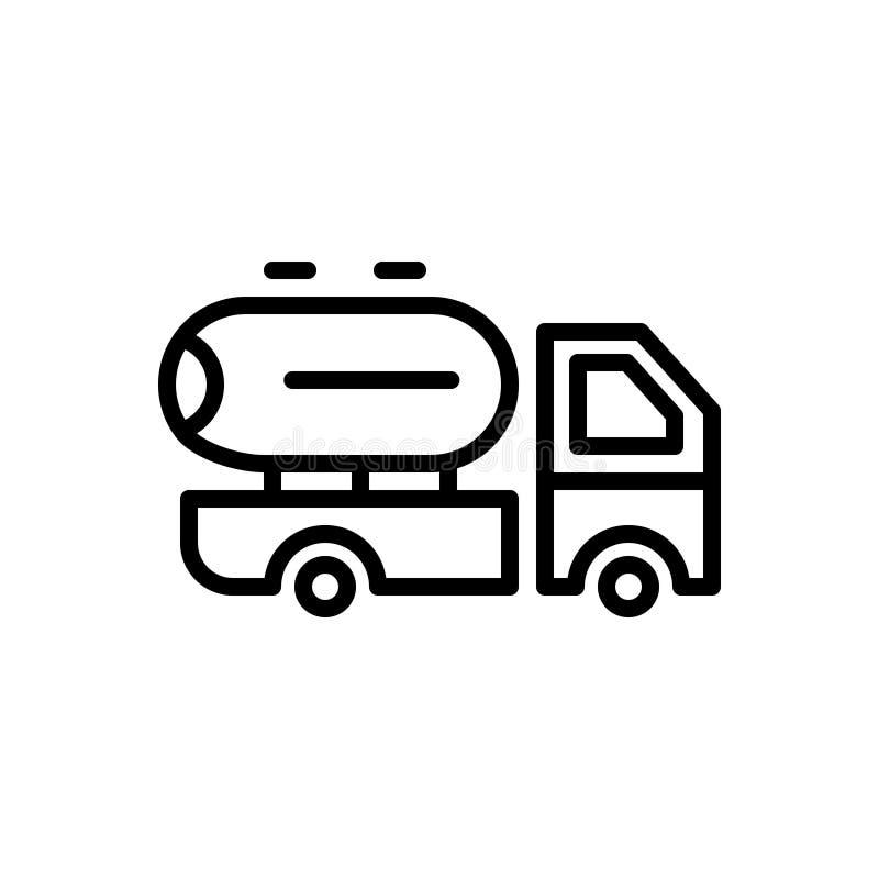 Zwart lijnpictogram voor Leverancier, voertuig en melk royalty-vrije illustratie