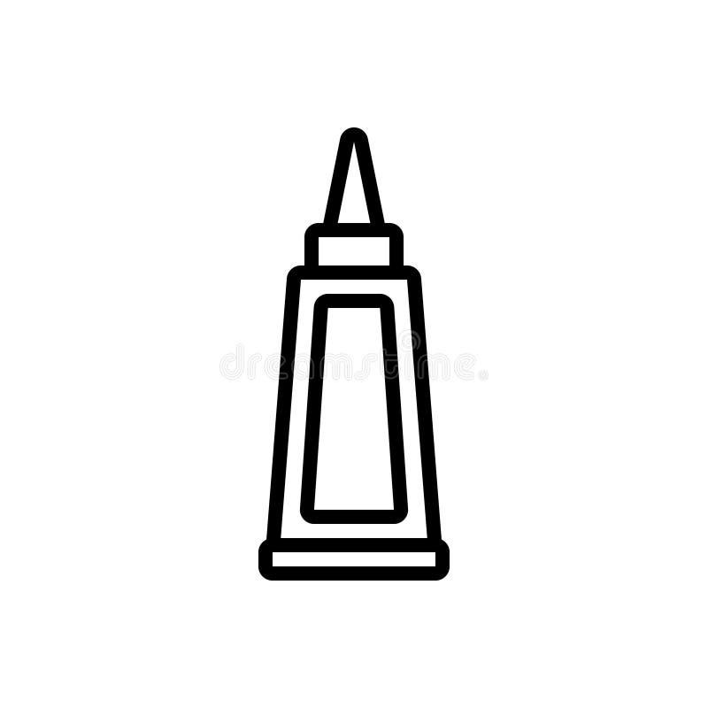 Zwart lijnpictogram voor Lijm, fles en kleefstof vector illustratie