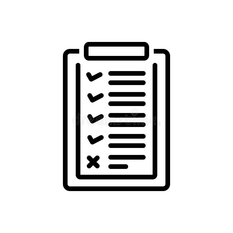 Zwart lijnpictogram voor Lijst, catalogus en archief royalty-vrije illustratie