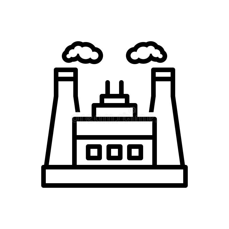Zwart lijnpictogram voor Machtsindustrie, macht en thermisch stock illustratie