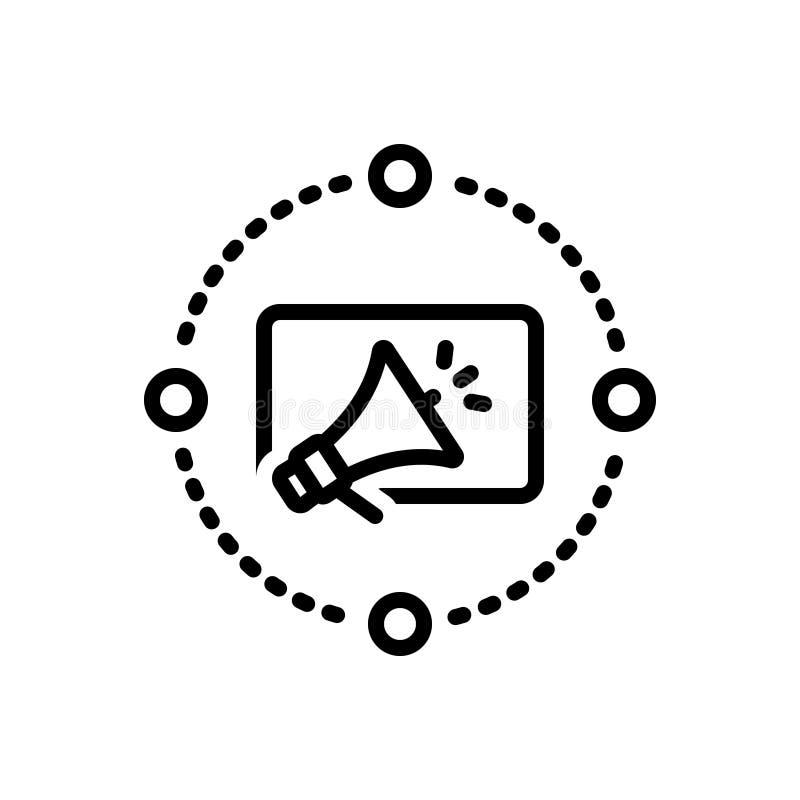 Zwart lijnpictogram voor Marketing Reclame, reclame en digitaal stock illustratie