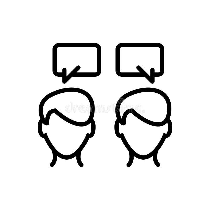 Zwart lijnpictogram voor Mededeling, het spreken en gesprek vector illustratie