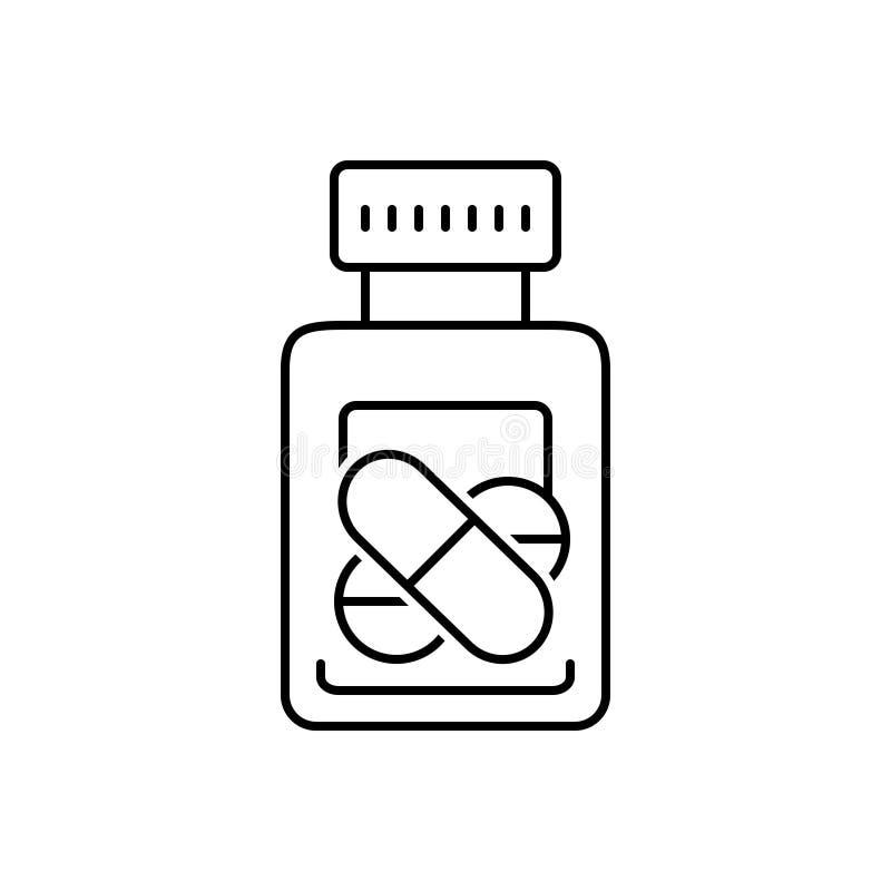 Zwart lijnpictogram voor Medicijn, pillen en tablet vector illustratie