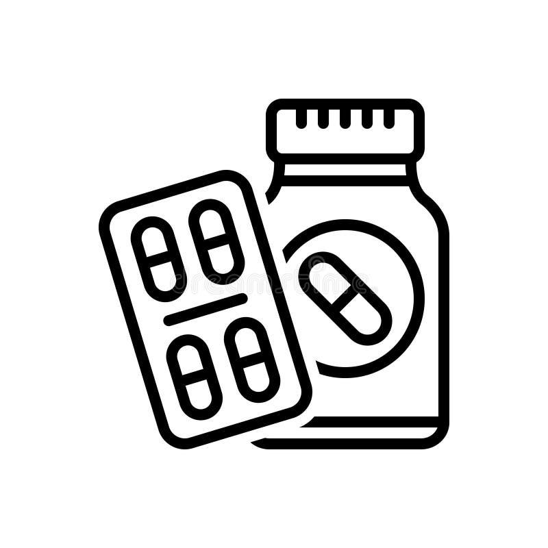 Zwart lijnpictogram voor Medicijnpillen, medicijn en antibioticum royalty-vrije illustratie