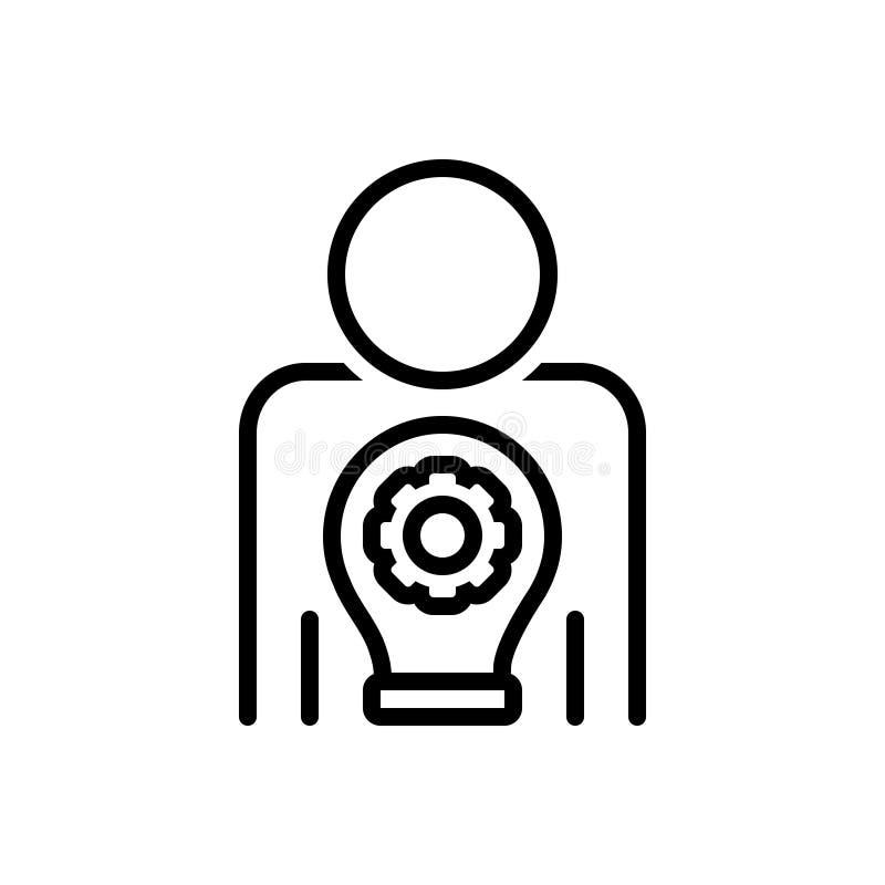 Zwart lijnpictogram voor Meester Uw Vaardigheid, meester en het plaatsen stock illustratie