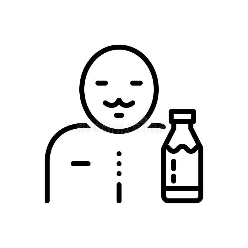 Zwart lijnpictogram voor Melkboer, melk en fles vector illustratie