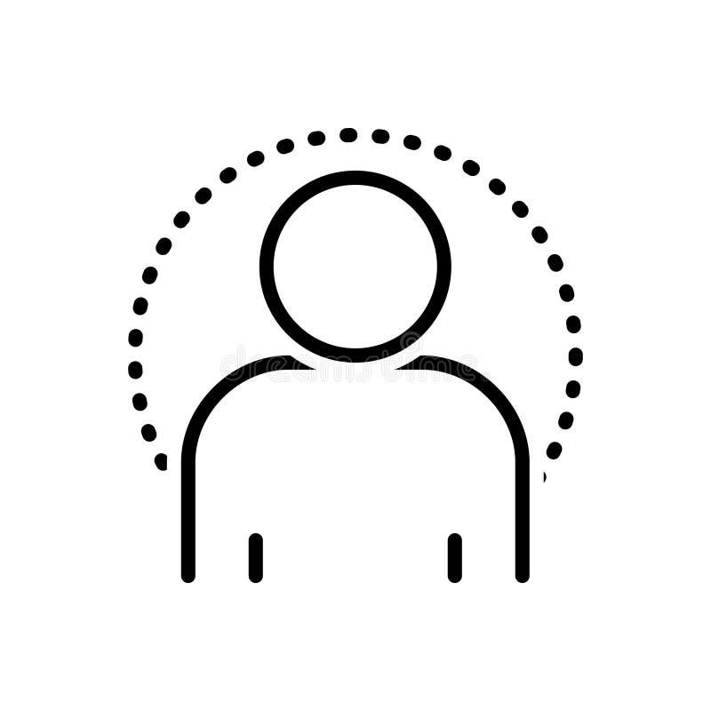 Zwart lijnpictogram voor Mensch, mens en persoon stock illustratie