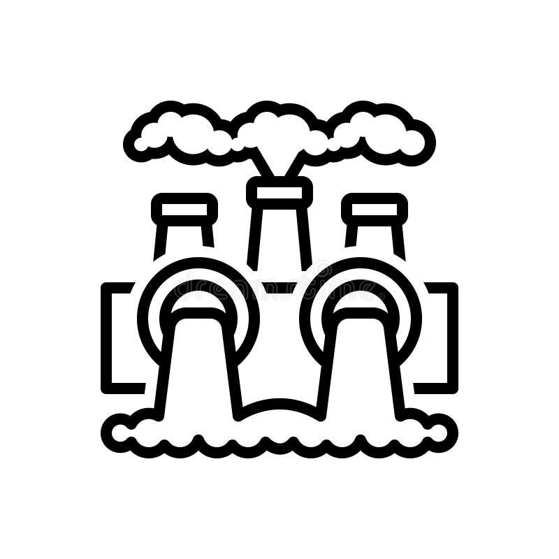 Zwart lijnpictogram voor Milieuvervuiling, macht en thermisch royalty-vrije illustratie