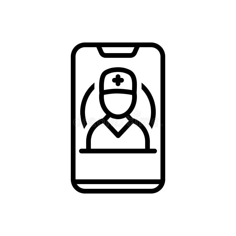 Zwart lijnpictogram voor Mobiele Gezondheidszorg, mobiel en app stock illustratie
