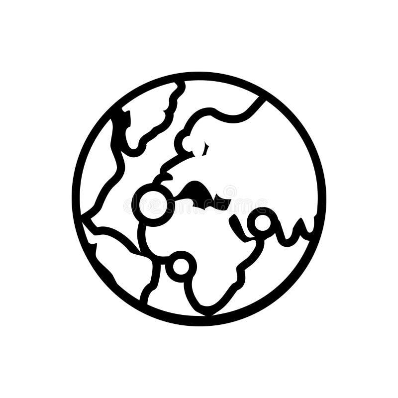 Zwart lijnpictogram voor Mondiaal mededelingen, verbinding en net vector illustratie