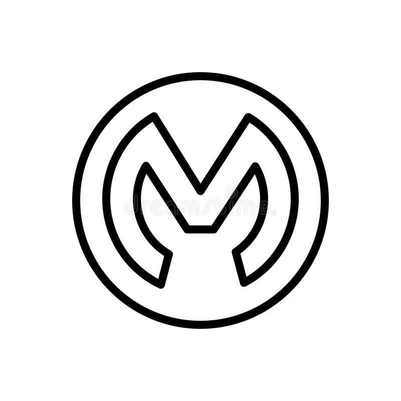 Zwart lijnpictogram voor Mulesoft, embleem en diversen vector illustratie