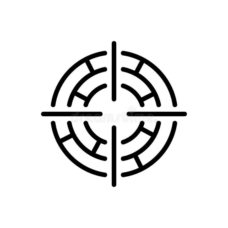 Zwart lijnpictogram voor Nadruk, doel en doel stock illustratie