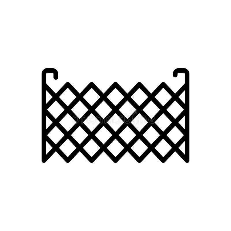 Zwart lijnpictogram voor Omheining, barricade en met weerhaken vector illustratie