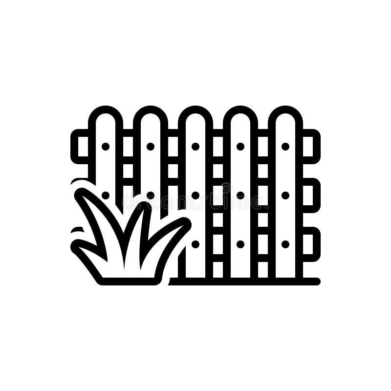 Zwart lijnpictogram voor Omheining, tuin en hout vector illustratie