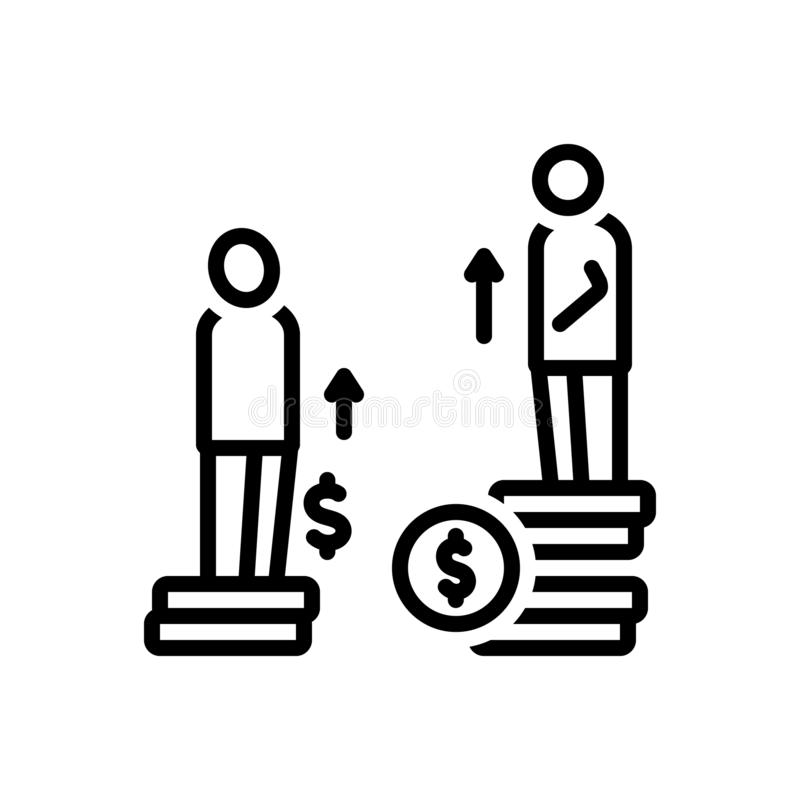 Zwart lijnpictogram voor Ongelijkheid, verschil en kansen stock illustratie