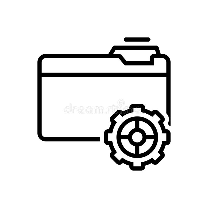 Zwart lijnpictogram voor Opstelling, voorziening en gegevens vector illustratie