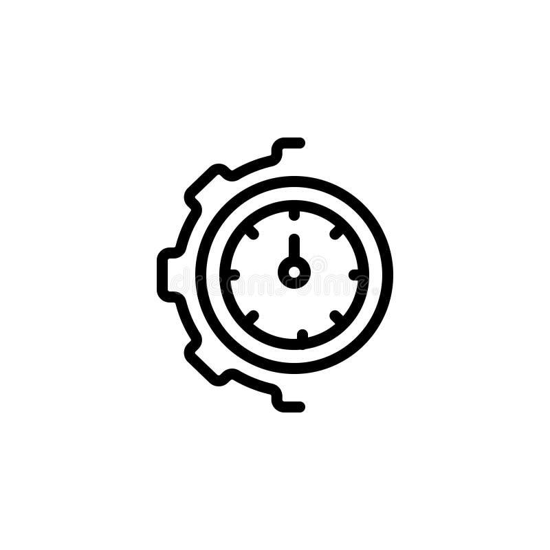Zwart lijnpictogram voor Optimalisering, beheer en tandrad stock illustratie