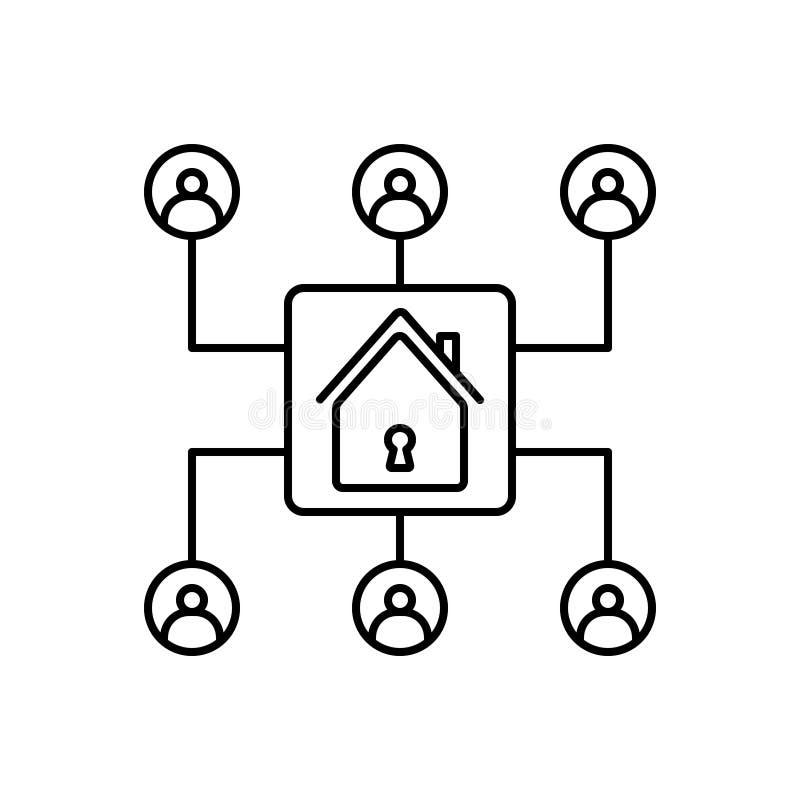 Zwart lijnpictogram voor Organisatie, opslag en inventaris vector illustratie