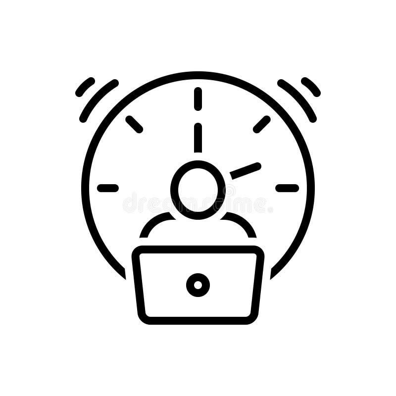 Zwart lijnpictogram voor Overwerk, extra en moeheid vector illustratie