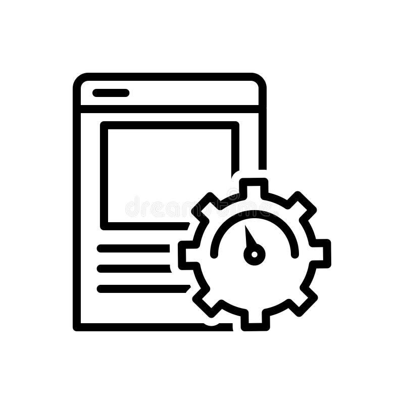 Zwart lijnpictogram voor Pagina, Optimalisering en document stock illustratie