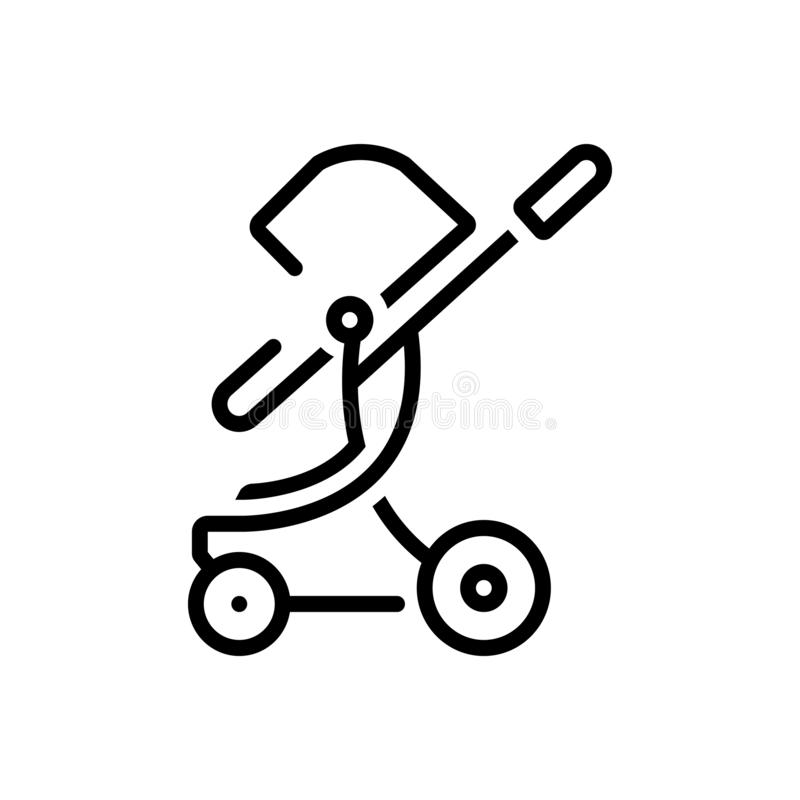 Zwart lijnpictogram voor Peutertuimelschakelaar, wandelwagen en uitvaller royalty-vrije illustratie