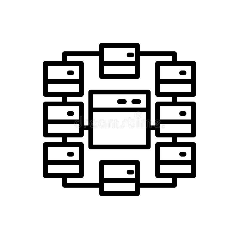 Zwart lijnpictogram voor Plaats, Kaart en stroomschema royalty-vrije illustratie
