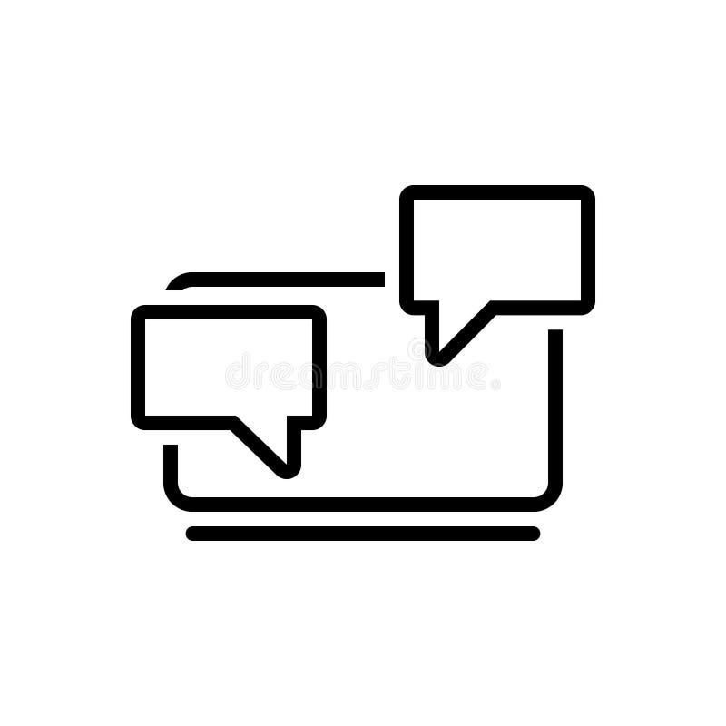 Zwart lijnpictogram voor Praatje, het babbelen en overseinen vector illustratie