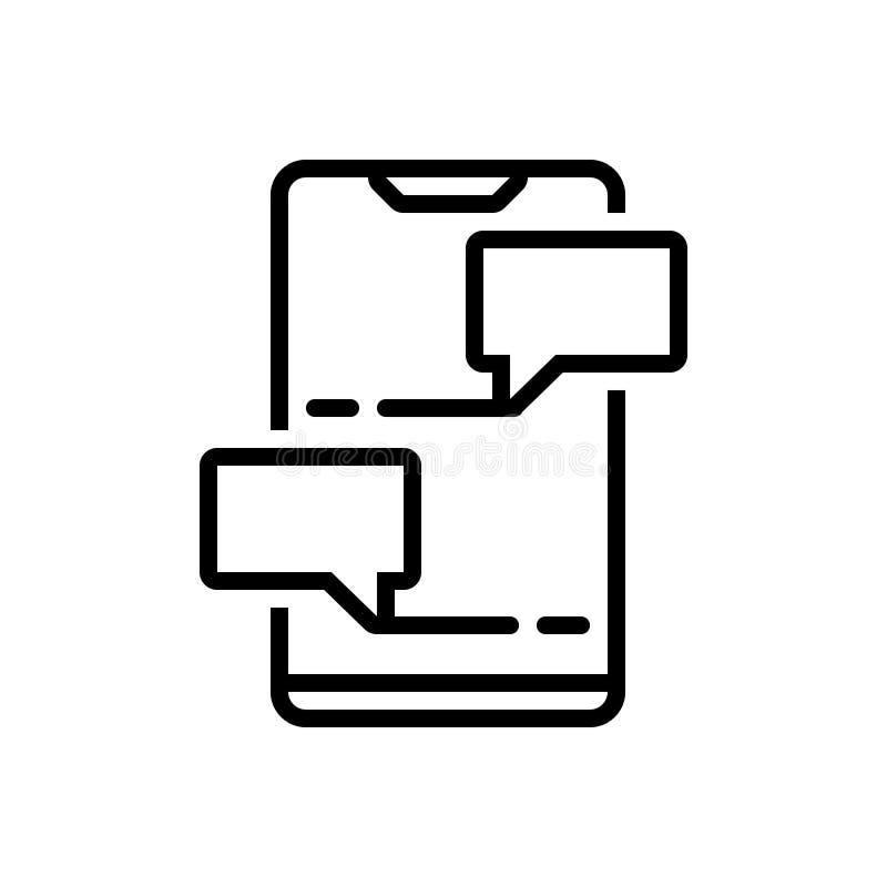 Zwart lijnpictogram voor Praatje, het babbelen en overseinen stock illustratie