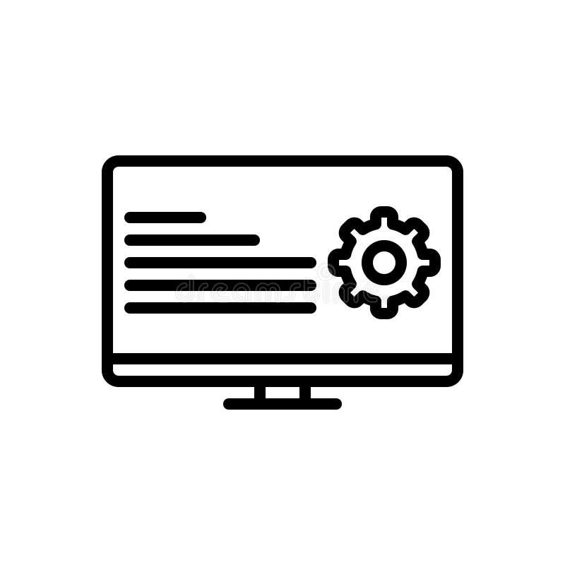 Zwart lijnpictogram voor Programmatic, coderend en digitaal vector illustratie