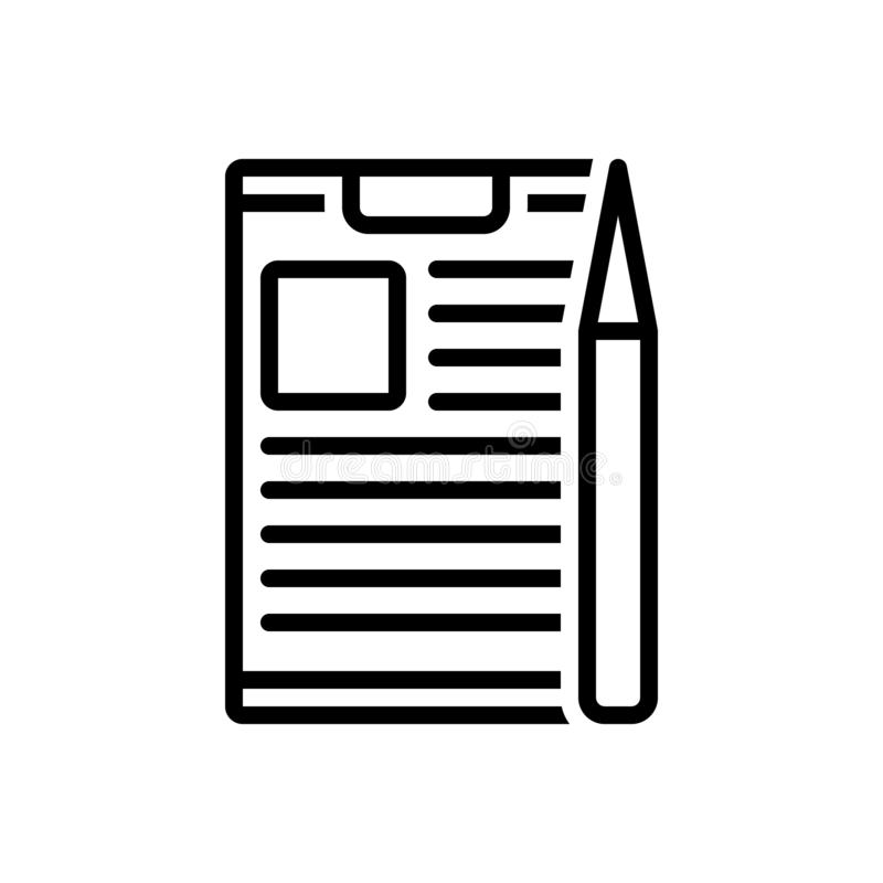 Zwart lijnpictogram voor Projectbriefing, bespreking en informatie vector illustratie