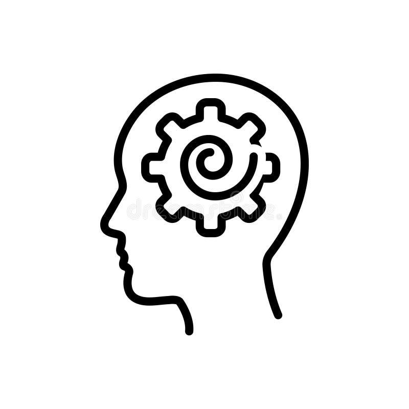 Zwart lijnpictogram voor Psych, psycholoog en hersenen vector illustratie