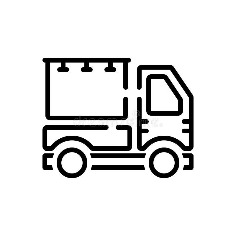 Zwart lijnpictogram voor Reclame, flaptekst en voertuig stock illustratie