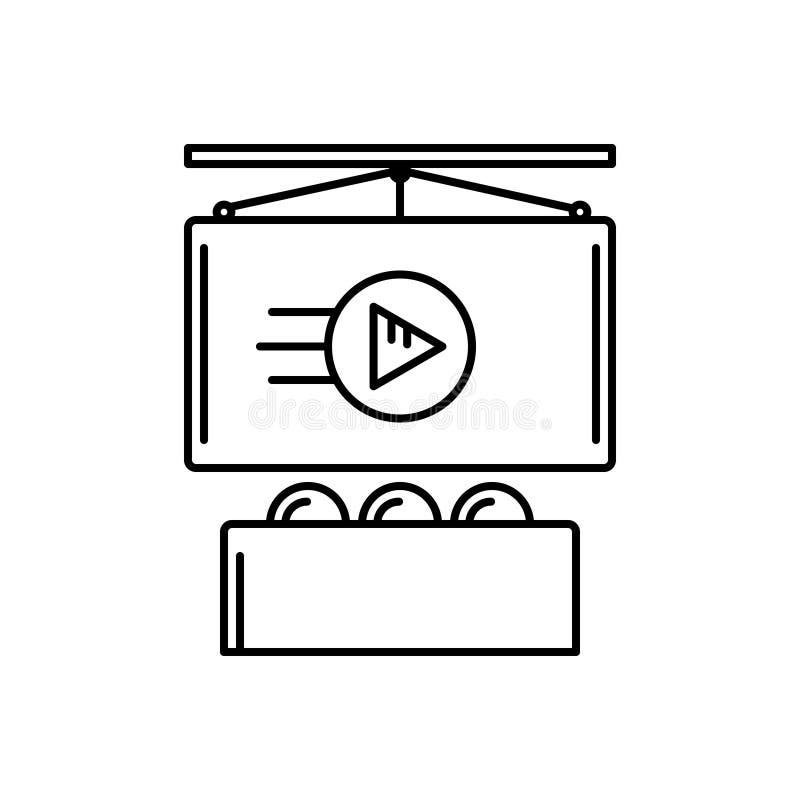 Zwart lijnpictogram voor Reclamespots, marketing en handelaar stock illustratie