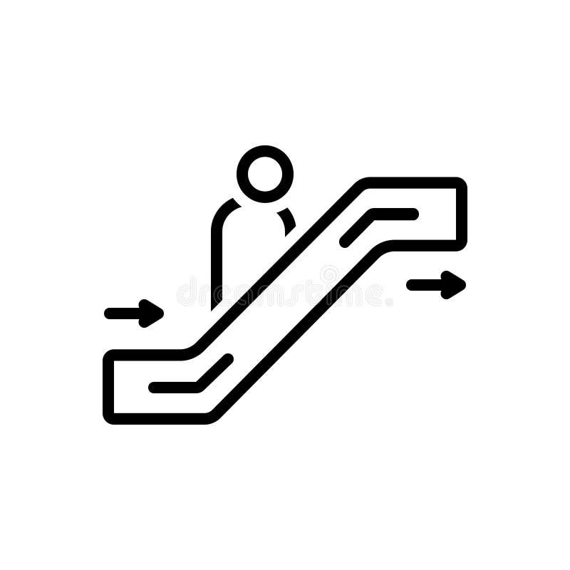 Zwart lijnpictogram voor Roltrap, passagier en trap vector illustratie
