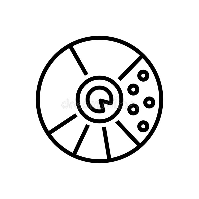 Zwart lijnpictogram voor Ronde Waardegrafiek, analytics en app vector illustratie