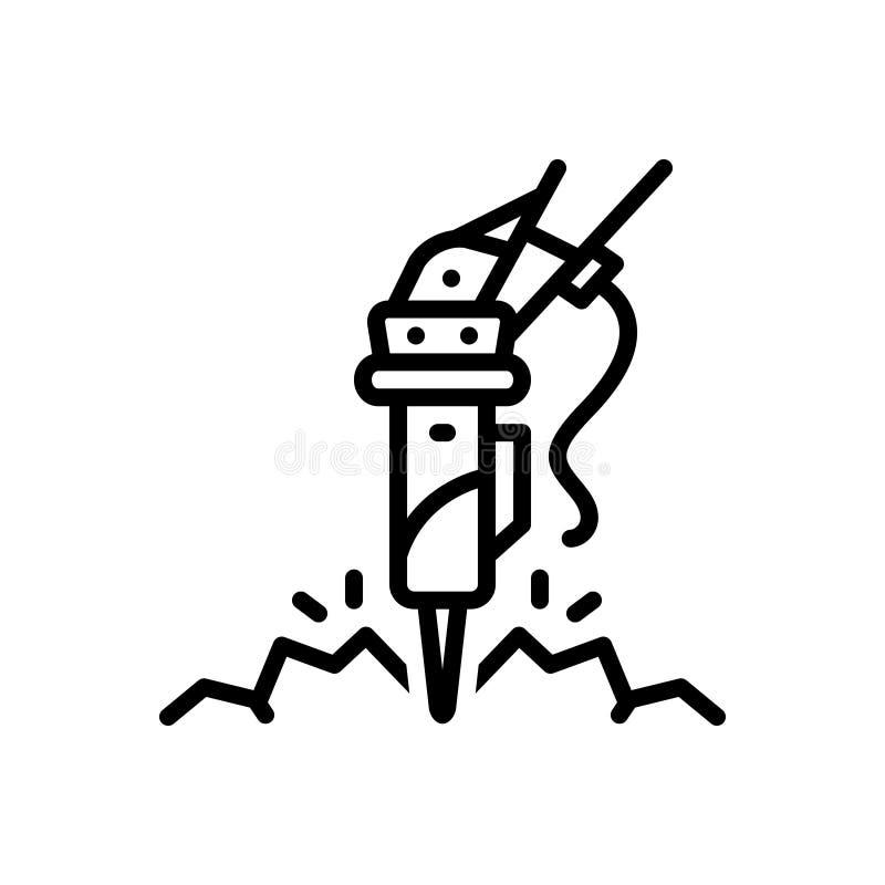 Zwart lijnpictogram voor Rots, breker en hamer stock illustratie