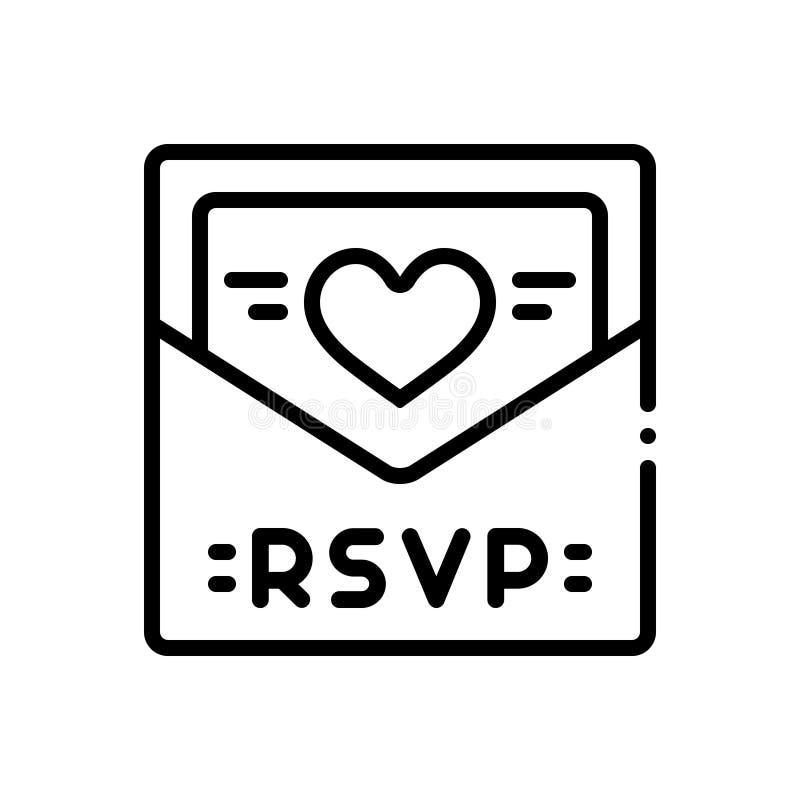 Zwart lijnpictogram voor Rsvp, bericht, kaart en uitnodiging stock illustratie