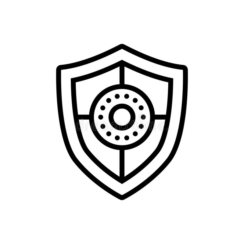 Zwart lijnpictogram voor Schild, bescherming en defensie stock illustratie